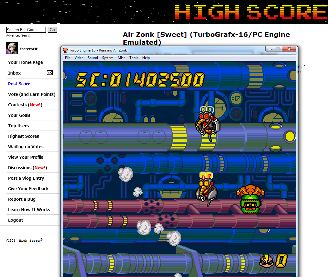 FosterAMF: Air Zonk [Sweet] (TurboGrafx-16/PC Engine Emulated) 1,402,500 points on 2014-07-06 02:15:11