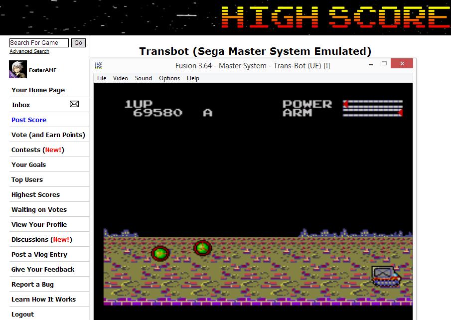 FosterAMF: Transbot (Sega Master System Emulated) 69,580 points on 2014-07-06 14:34:11
