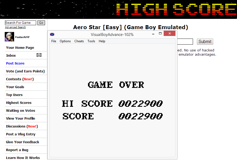 FosterAMF: Aero Star [Easy] (Game Boy Emulated) 22,900 points on 2014-07-06 18:02:34