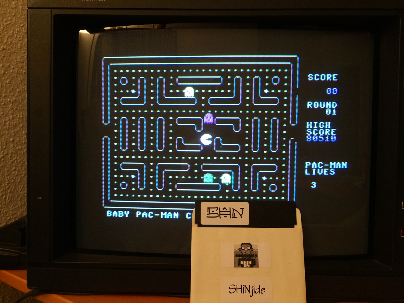 SHiNjide: Baby Pac-Man (Commodore 64) 80,510 points on 2014-07-08 13:33:16