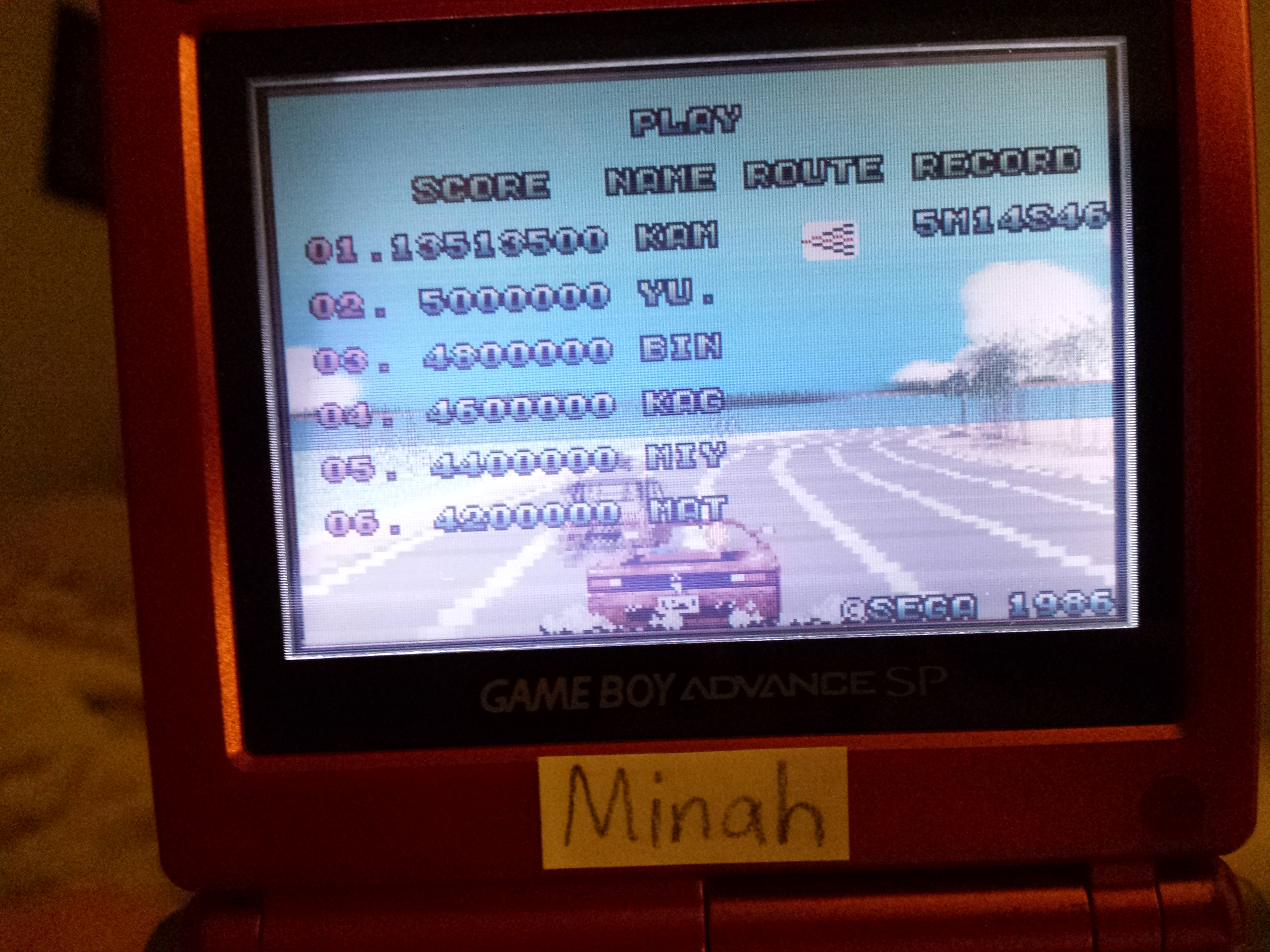 Sega Arcade Gallery: Outrun 13,513,500 points