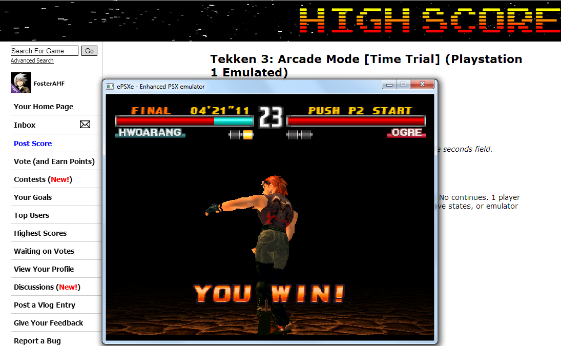 Tekken 3: Arcade Mode [Time Trial] (Playstation 1 Emulated