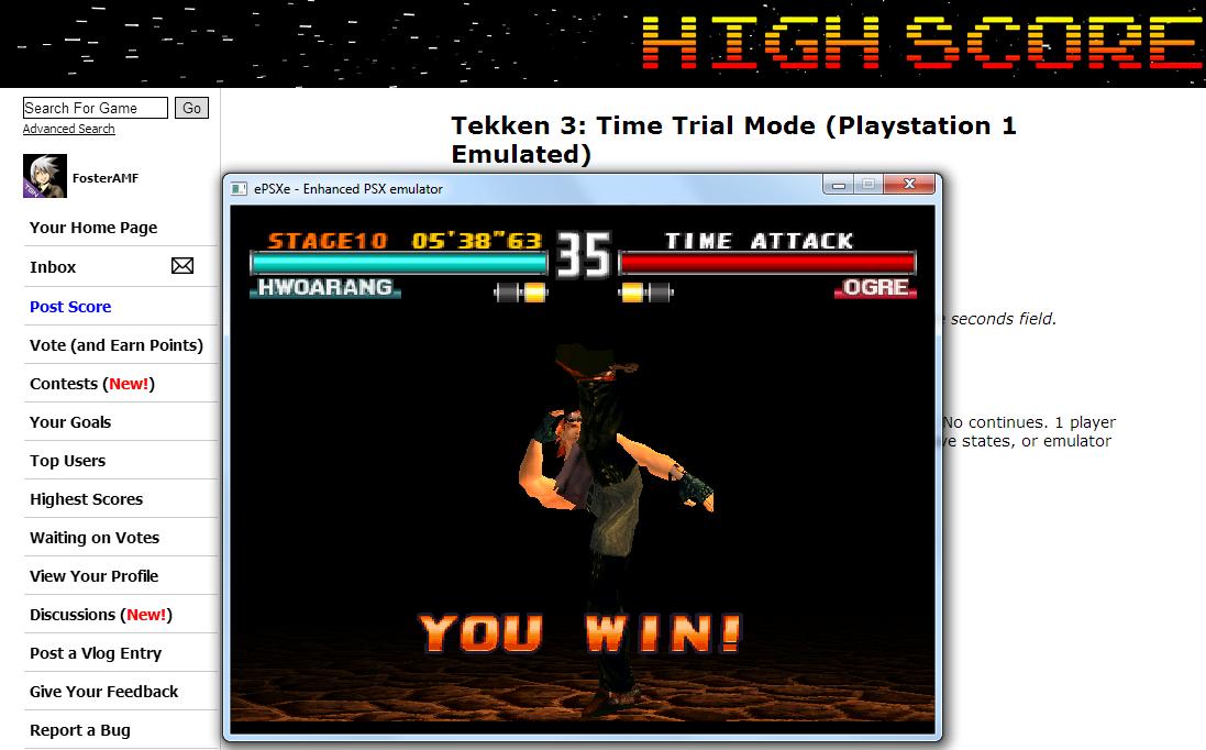 Tekken 3: Time Trial Mode time of 0:05:38.63