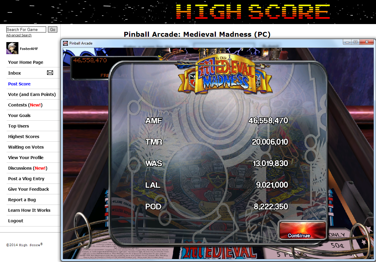 FosterAMF: Pinball Arcade: Medieval Madness (PC) 46,558,470 points on 2014-07-14 03:27:48