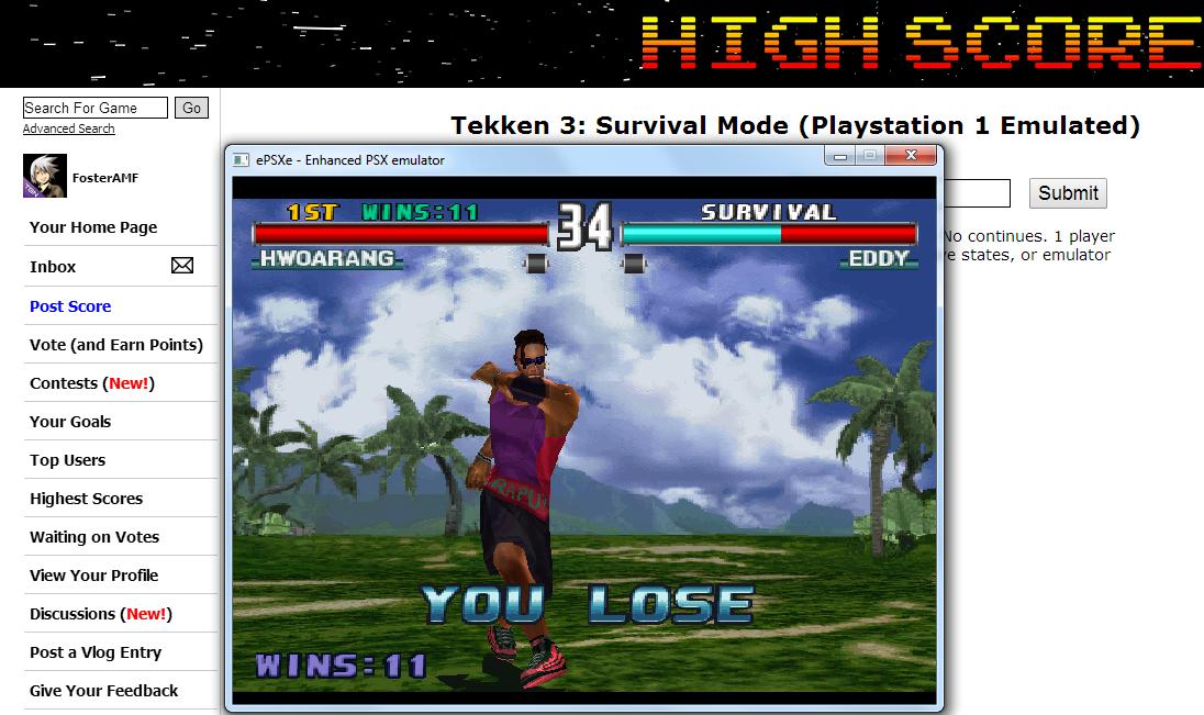FosterAMF: Tekken 3: Survival Mode (Playstation 1 Emulated) 11 points on 2014-07-14 14:34:30