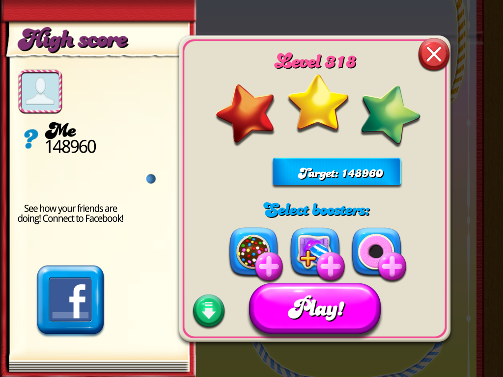 Candy Crush Saga: Level 318 148,960 points