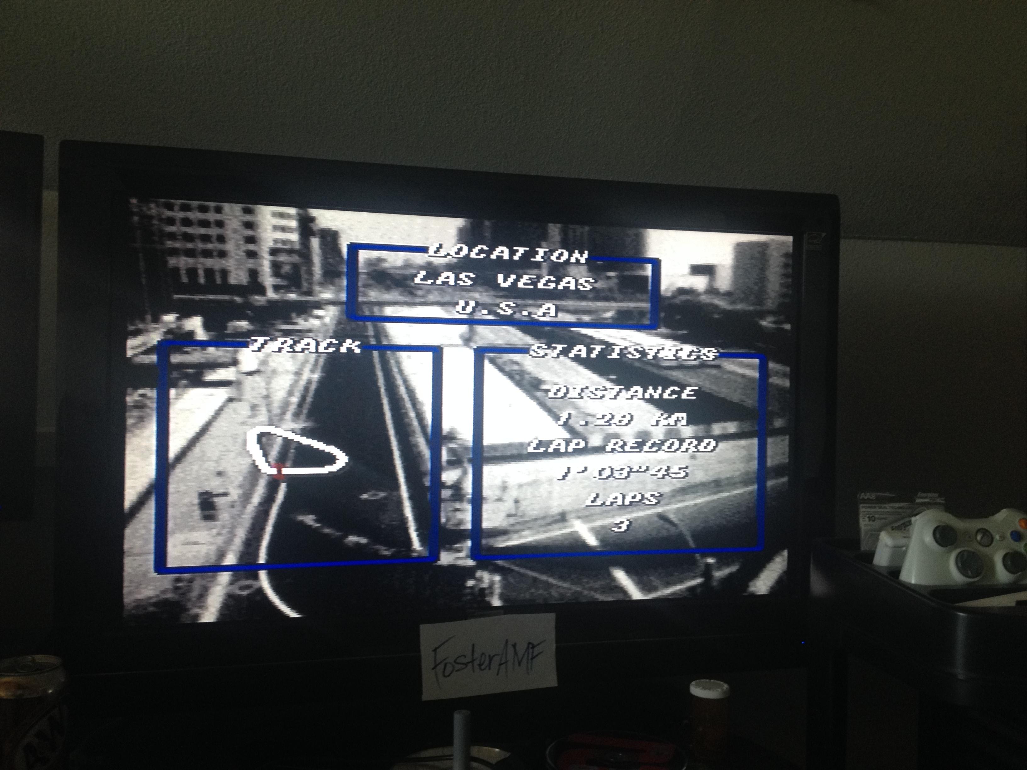 FosterAMF: Top Gear [Track 1: Las Vegas/Amateur Difficulty/No Nitro] (SNES/Super Famicom) 0:01:06.53 points on 2014-07-15 00:24:12