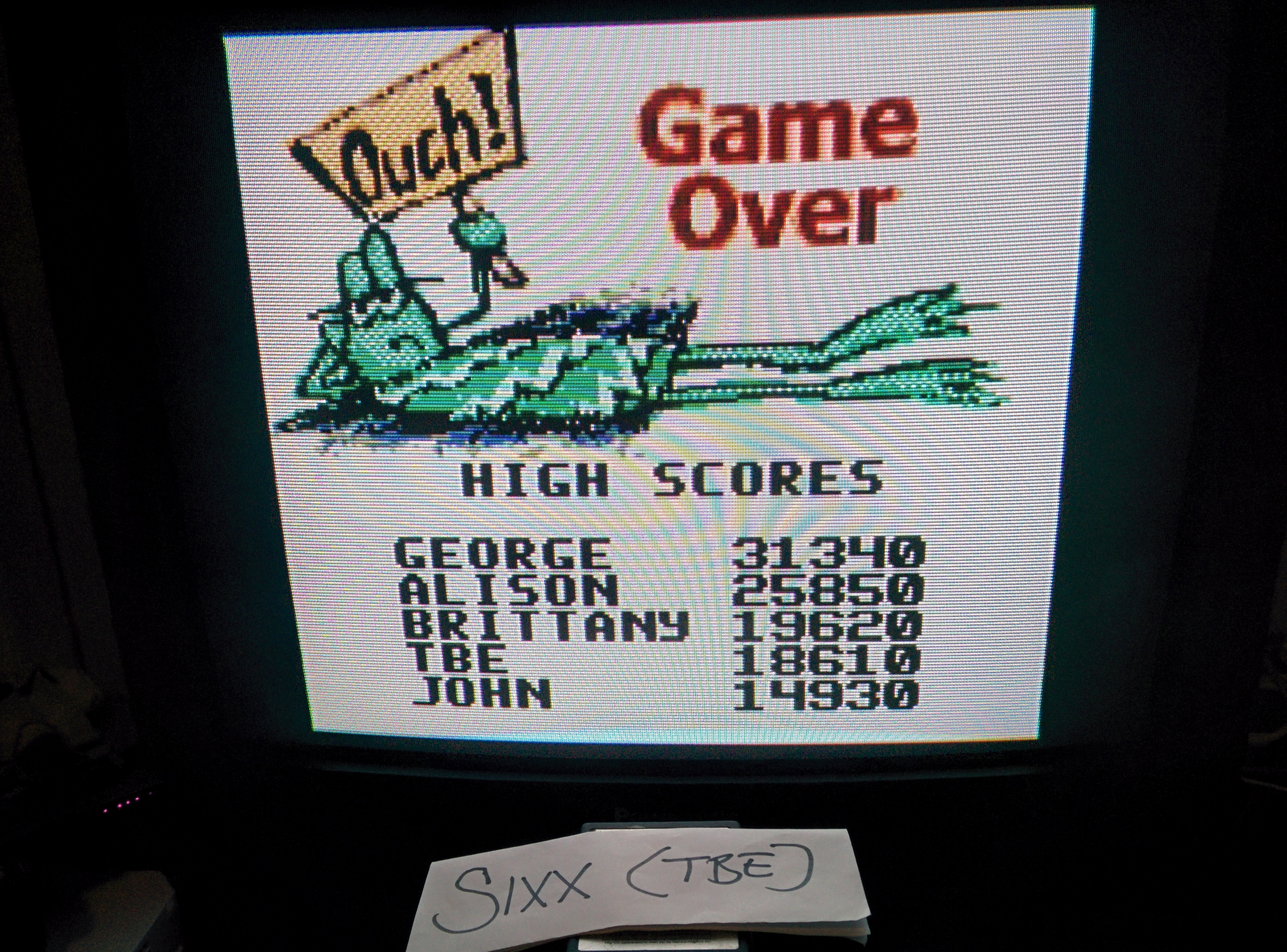 Sixx: Frogger (Game Boy Color Emulated) 18,610 points on 2014-07-15 17:36:05