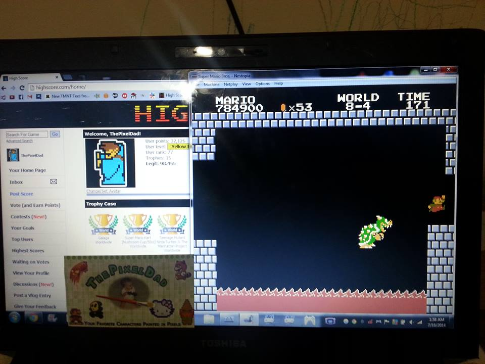 ThePixelDad: Super Mario Bros. [No Farming] (NES/Famicom Emulated) 784,900 points on 2014-07-16 02:10:56