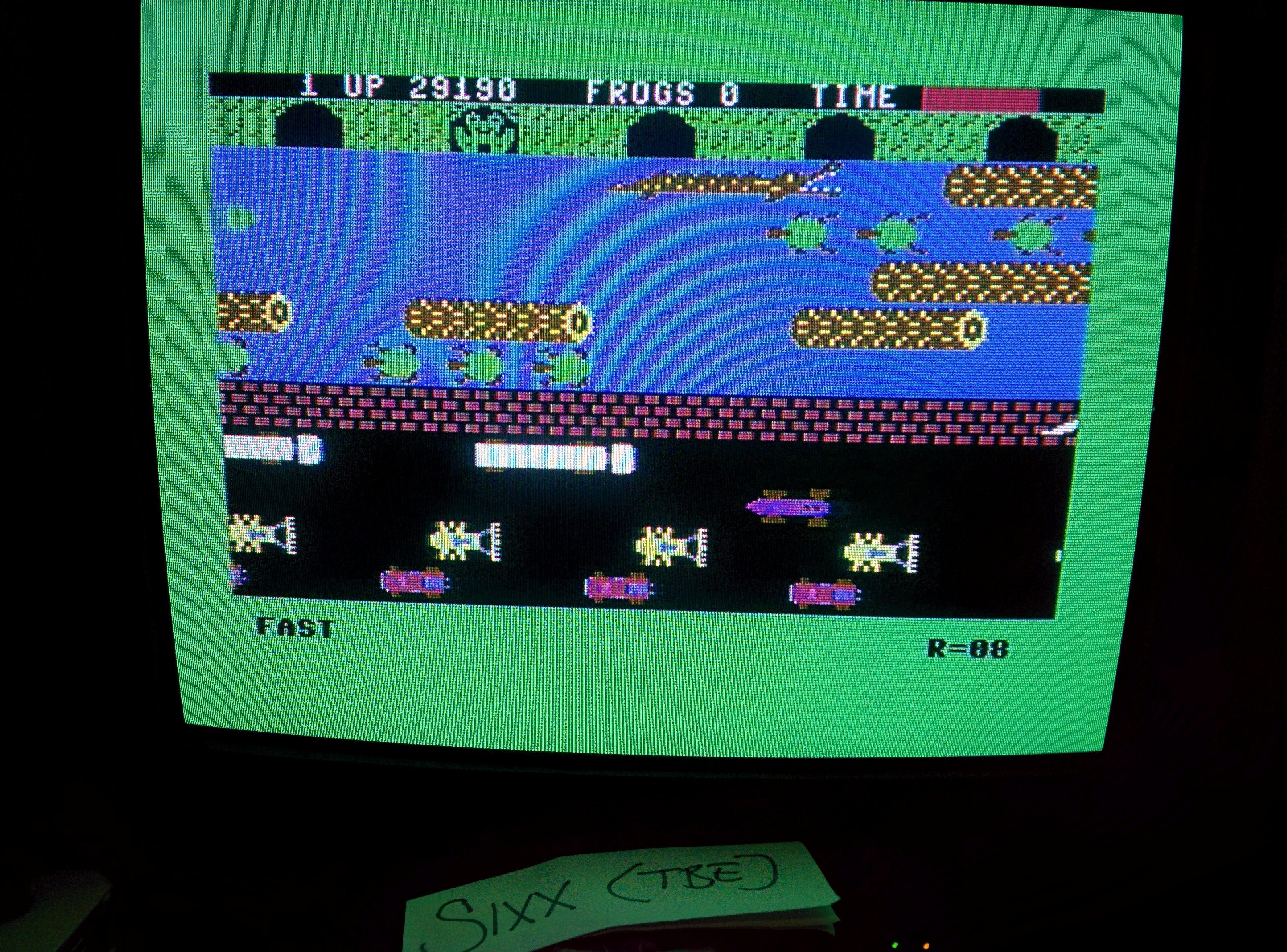Sixx: Frogger: Parker Bros [Fast] (Commodore 64) 29,190 points on 2014-07-16 16:26:47
