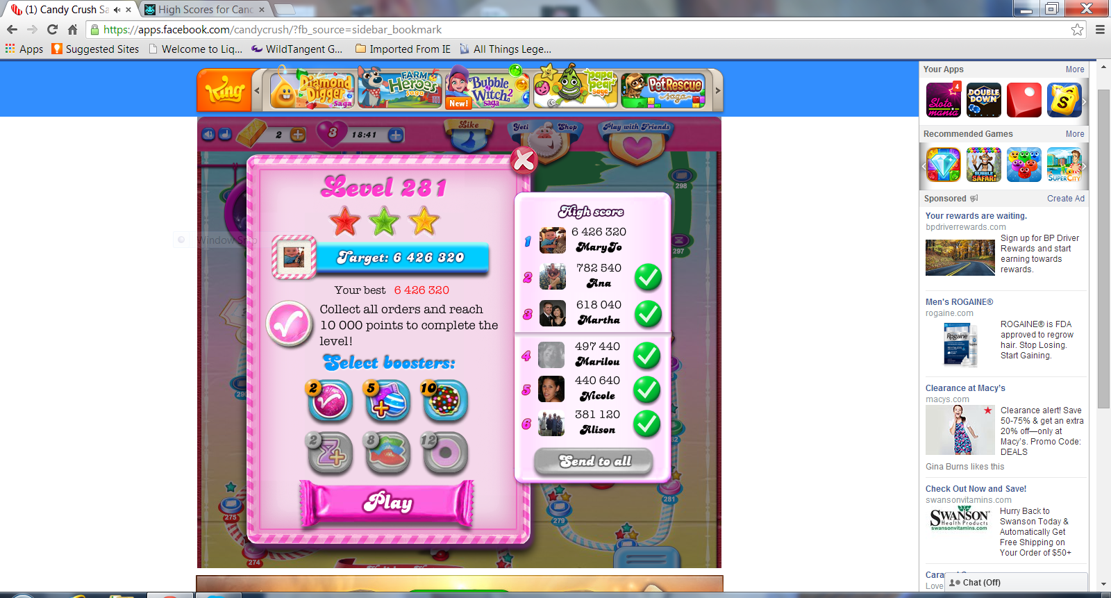 mcobound: Candy Crush Saga: Level 281 (Web) 6,426,320 points on 2014-07-17 16:05:00