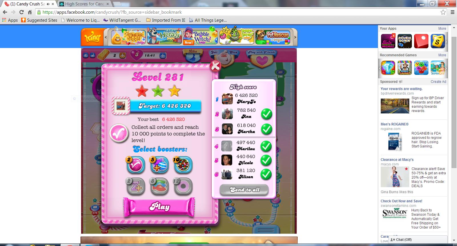 Candy Crush Saga: Level 281 6,426,320 points