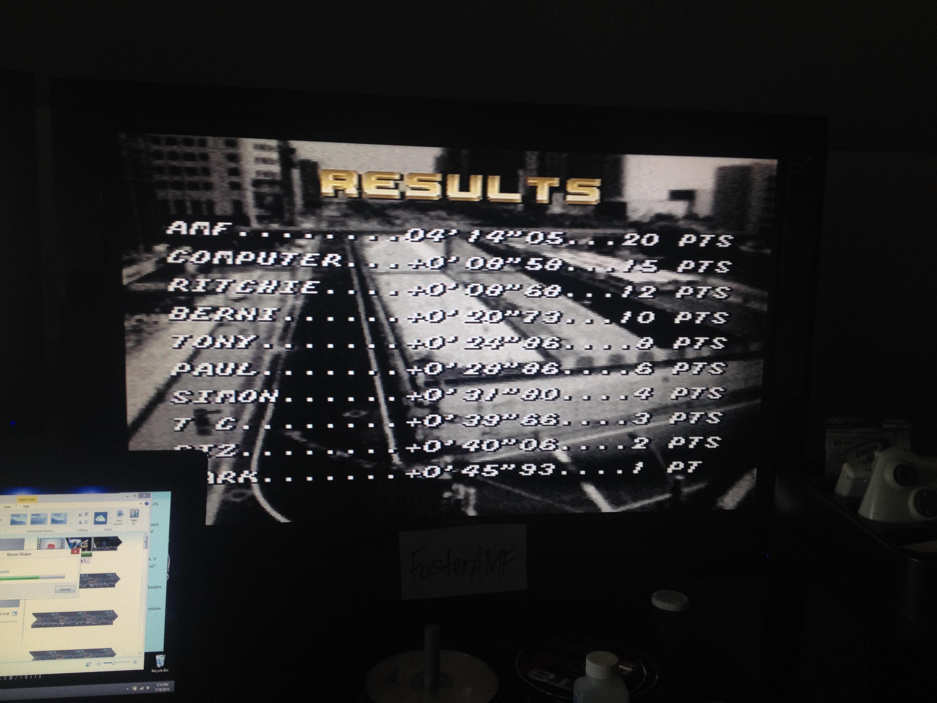 FosterAMF: Top Gear [Track 5: Rio/Amateur Difficulty/No Nitro] (SNES/Super Famicom) 0:04:14.05 points on 2014-07-18 15:46:50