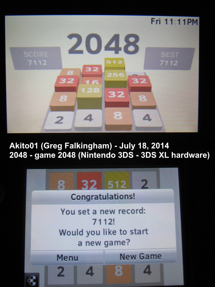 Akito01: 2048 [Game 2048] (Nintendo 3DS) 7,112 points on 2014-07-18 22:16:41