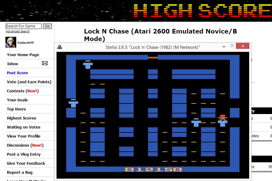 FosterAMF: Lock N Chase (Atari 2600 Emulated Novice/B Mode) 12,150 points on 2014-07-19 13:58:26