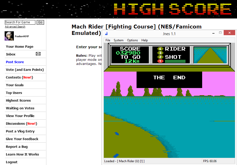 FosterAMF: Mach Rider [Fighting Course] (NES/Famicom Emulated) 32,980 points on 2014-07-20 14:55:49