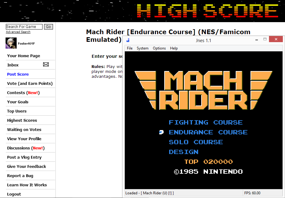 FosterAMF: Mach Rider [Endurance Course] (NES/Famicom Emulated) 107,540 points on 2014-07-20 15:12:02