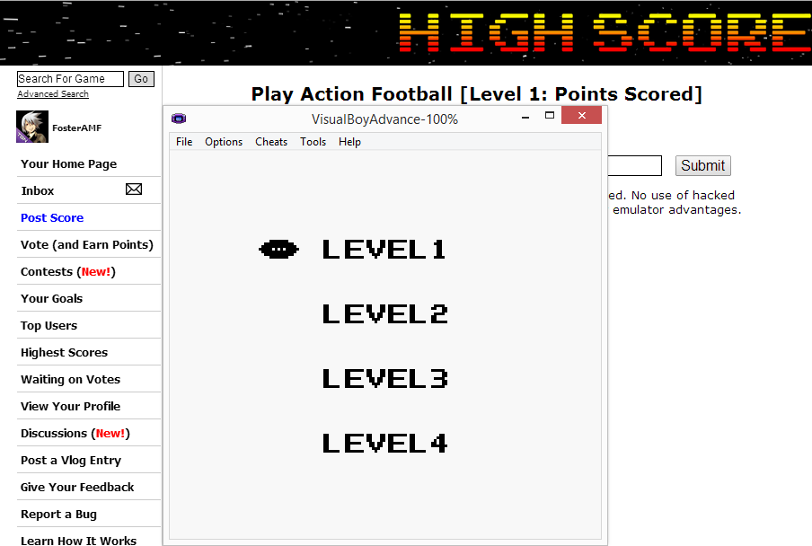 FosterAMF: Play Action Football [Level 1: Points Scored] (Game Boy Emulated) 128 points on 2014-07-20 16:44:29