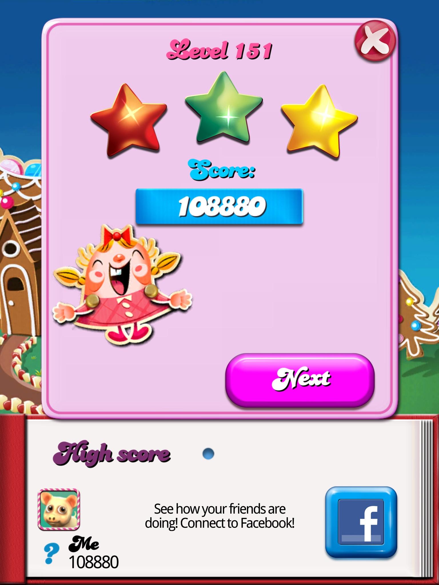 bak2day: Candy Crush Saga: Level 151 (iOS) 108,880 points on 2014-07-21 04:10:40