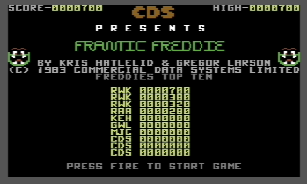 Frantic Freddie 700 points