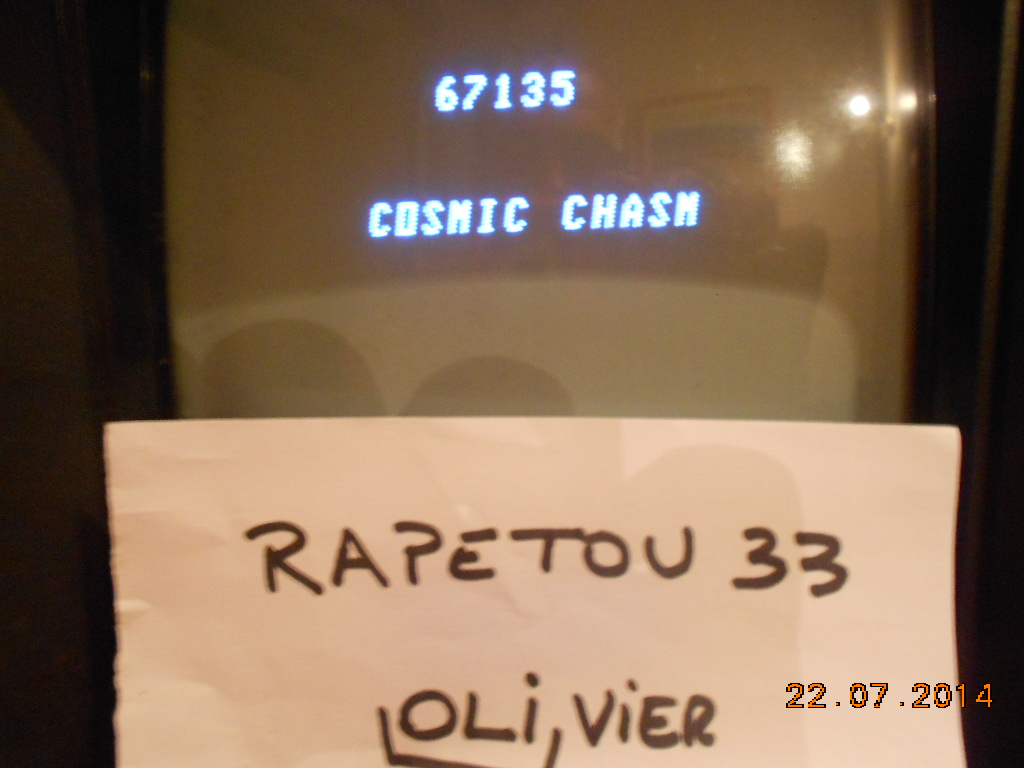 rapetou33: Cosmic Chasm (Vectrex) 67,135 points on 2014-07-23 03:18:03