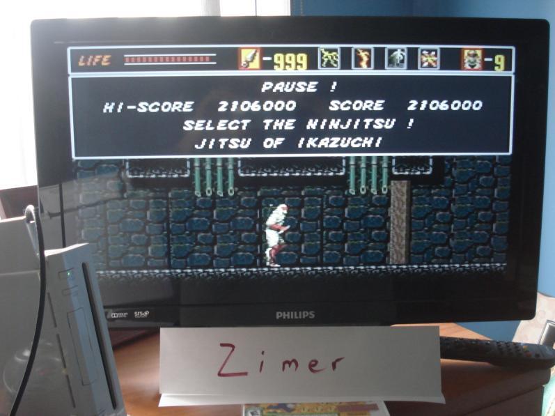 Zimer: Revenge of Shinobi [Any Settings/Any Tactics] (Wii Virtual Console: Genesis) 2,106,000 points on 2014-07-23 08:47:12
