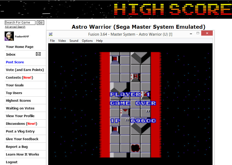 FosterAMF: Astro Warrior (Sega Master System Emulated) 69,600 points on 2014-07-23 19:56:19
