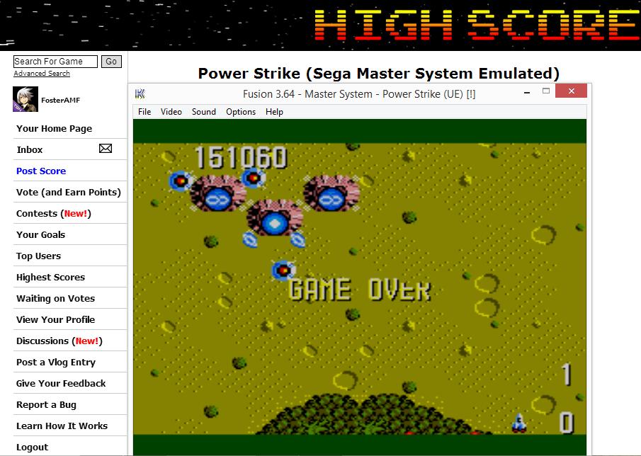 FosterAMF: Power Strike (Sega Master System Emulated) 151,060 points on 2014-07-24 03:27:29