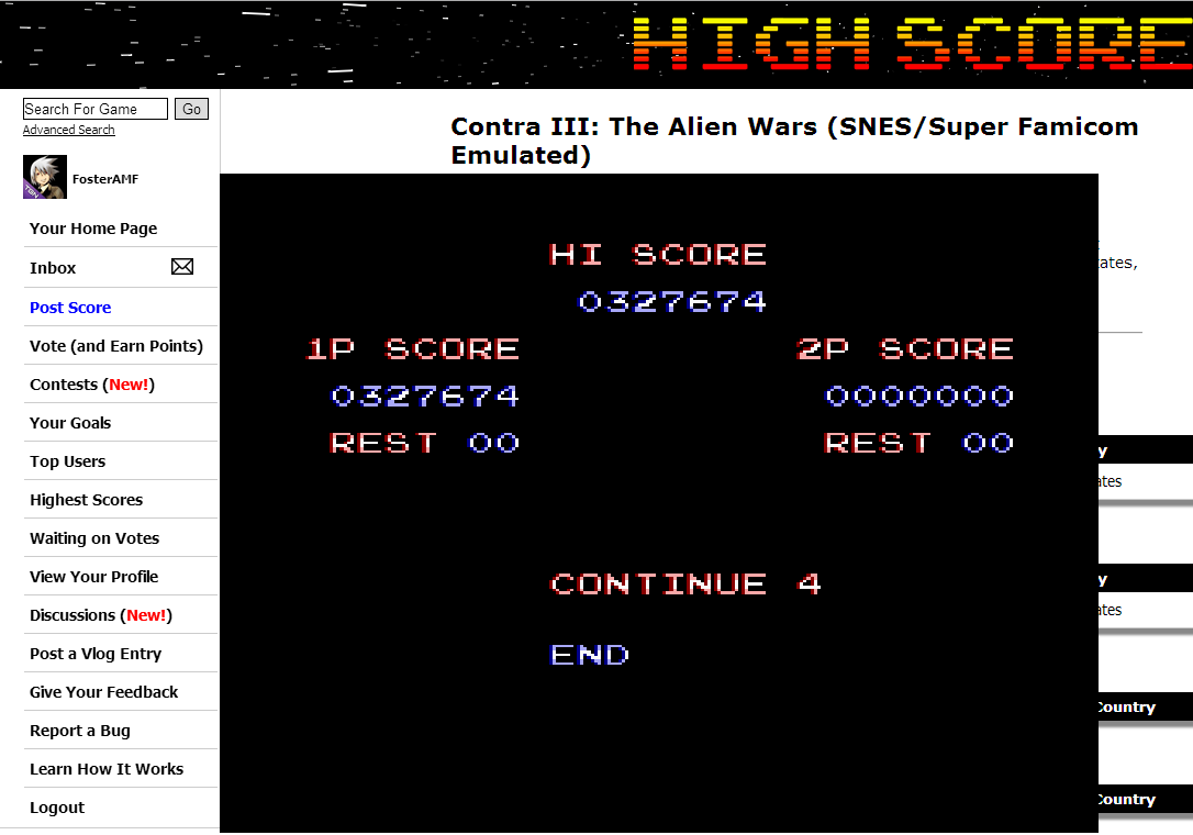 FosterAMF: Contra III: The Alien Wars [Normal] (SNES/Super Famicom Emulated) 327,674 points on 2014-07-24 14:43:08
