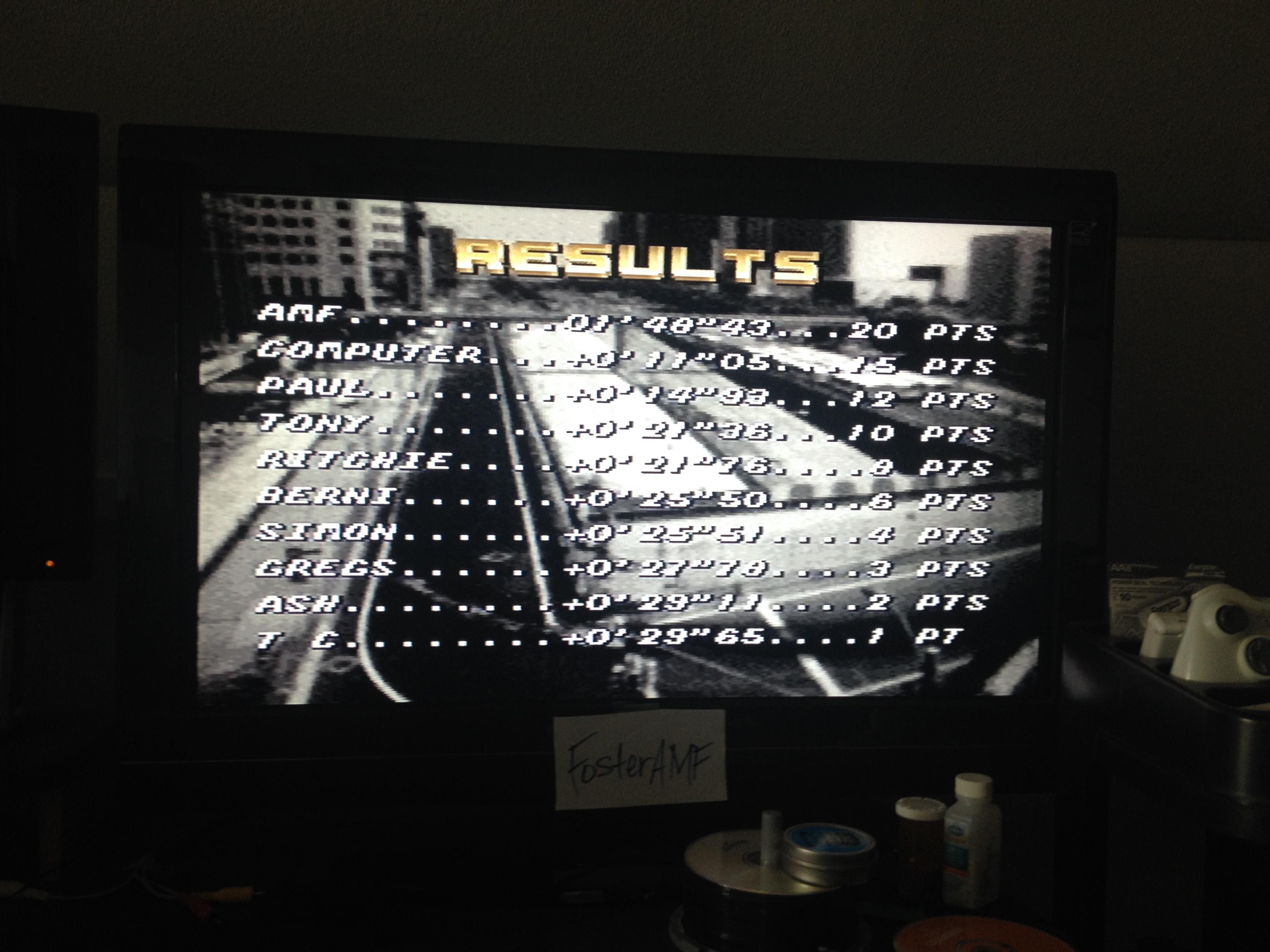 FosterAMF: Top Gear [Track 11: Yokohama/Amateur Difficulty/No Nitro] (SNES/Super Famicom) 0:01:48.43 points on 2014-07-24 15:57:34