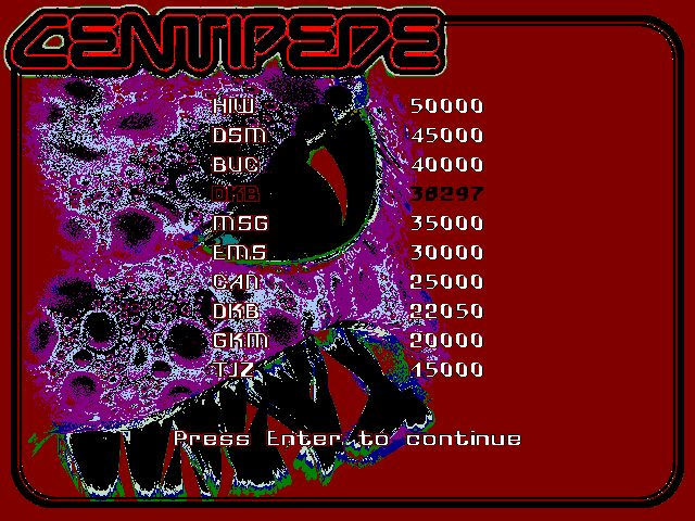 DarrylB: Centipede: Arcade Mode [1998 Version] (PC) 38,297 points on 2014-07-25 12:52:50