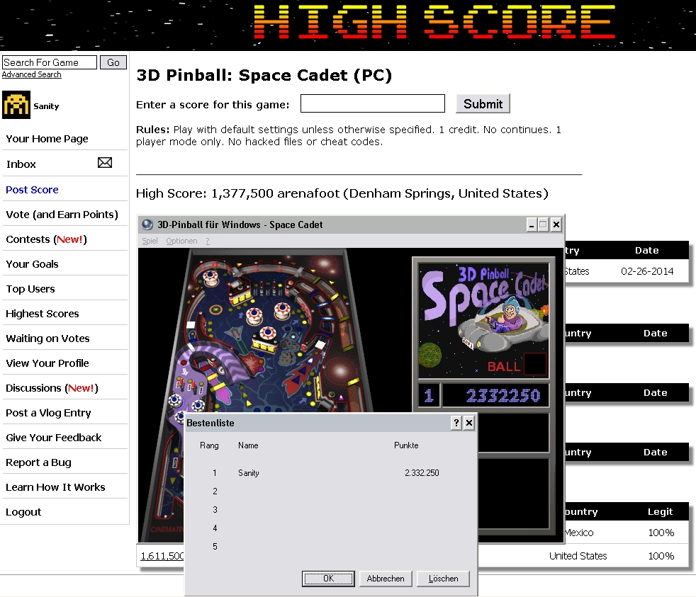 Sanity: 3D Pinball: Space Cadet (PC) 2,332,250 points on 2014-07-26 17:05:31