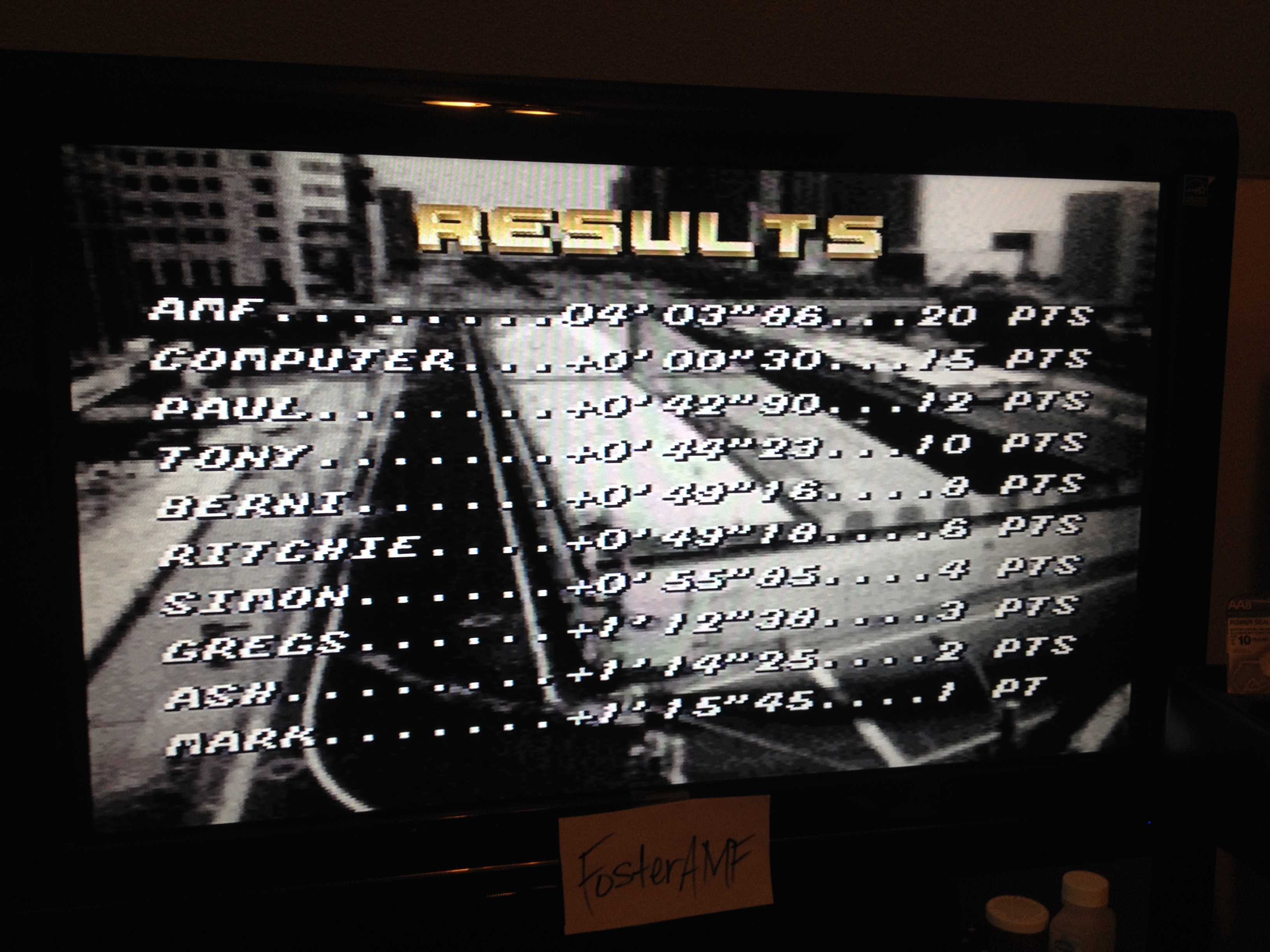 FosterAMF: Top Gear [Track 15: Black Forest/Amateur Difficulty/No Nitro] (SNES/Super Famicom) 0:04:03.86 points on 2014-07-27 21:00:19