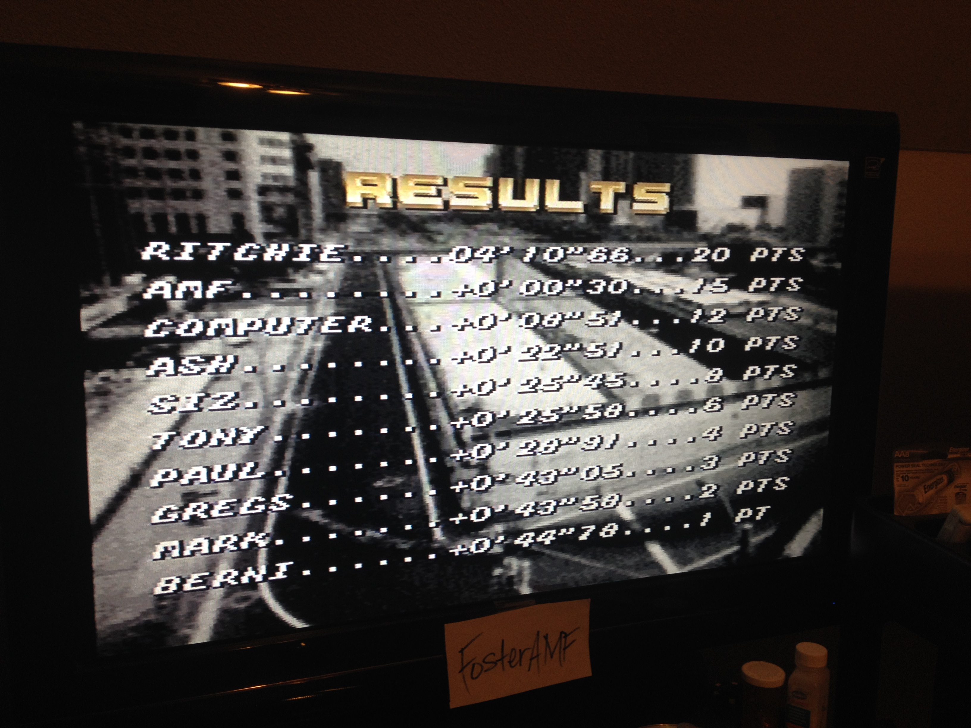 FosterAMF: Top Gear [Track 22: Nice/Amateur Difficulty/No Nitro] (SNES/Super Famicom) 0:04:10.96 points on 2014-07-31 02:58:39