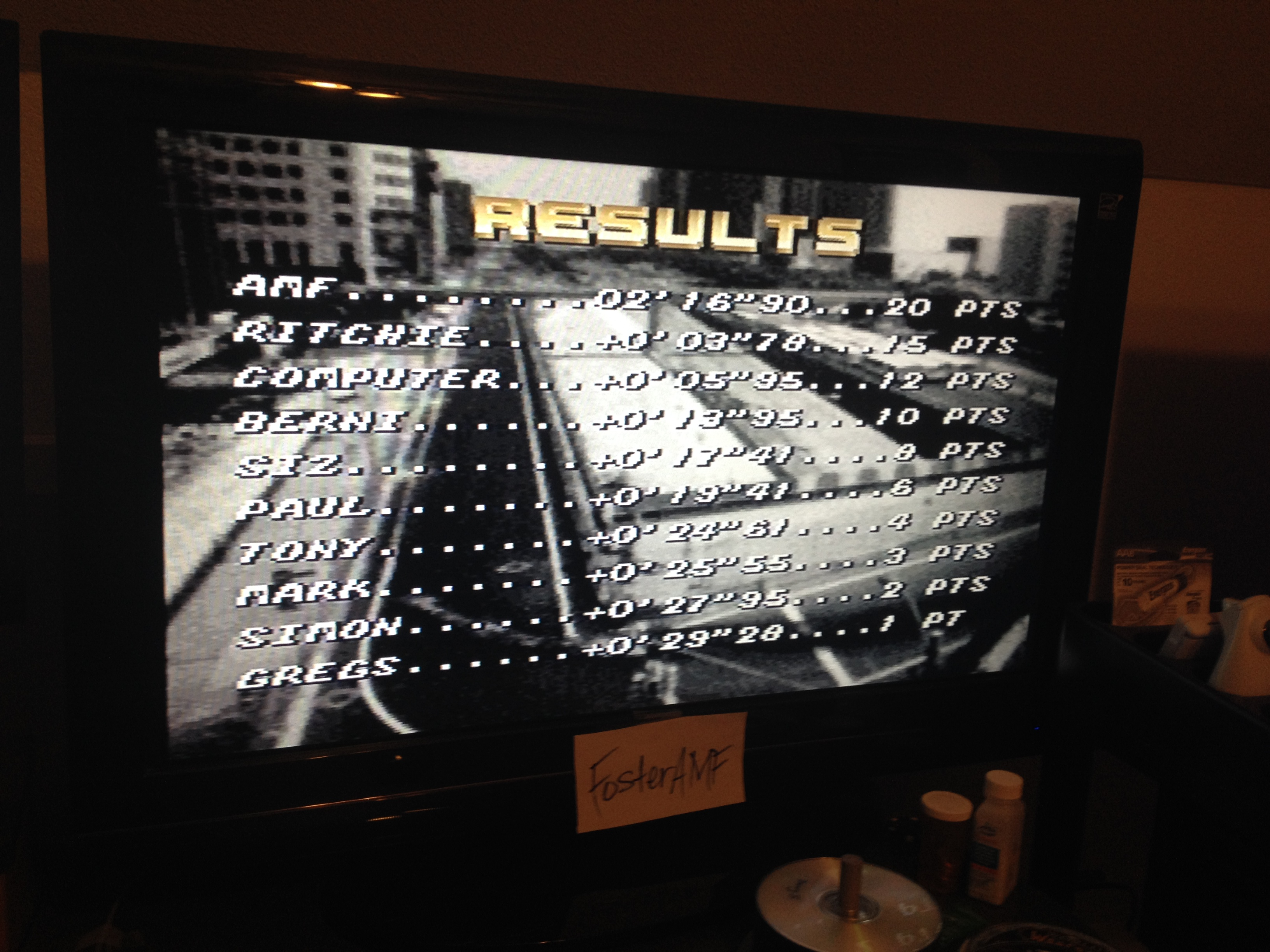 FosterAMF: Top Gear [Track 24: Monaco/Amateur Difficulty/No Nitro] (SNES/Super Famicom) 0:02:16.9 points on 2014-07-31 03:03:13