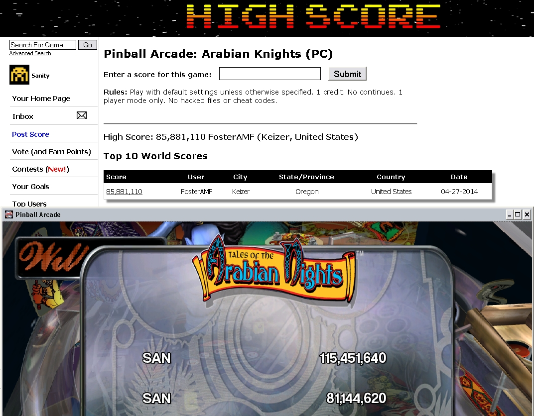 Sanity: Pinball Arcade: Arabian Knights (PC) 115,451,640 points on 2014-07-31 19:37:40