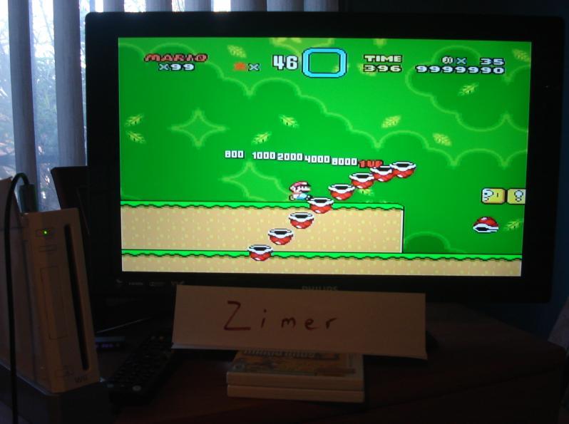 Zimer: Super Mario World NTSC [Any Settings/Any Tactics] (Wii Virtual Console: SNES) 9,999,990 points on 2014-08-01 09:14:23