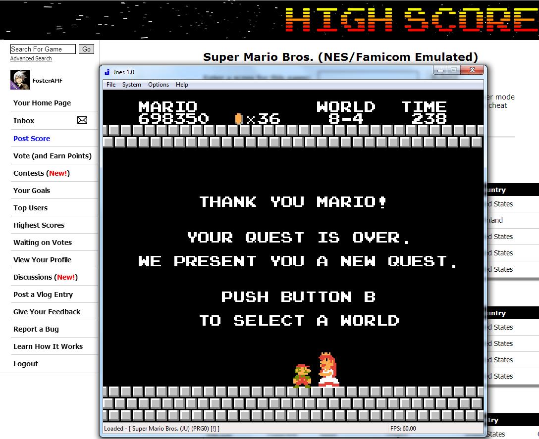 FosterAMF: Super Mario Bros. (NES/Famicom Emulated) 698,350 points on 2014-08-01 23:13:18