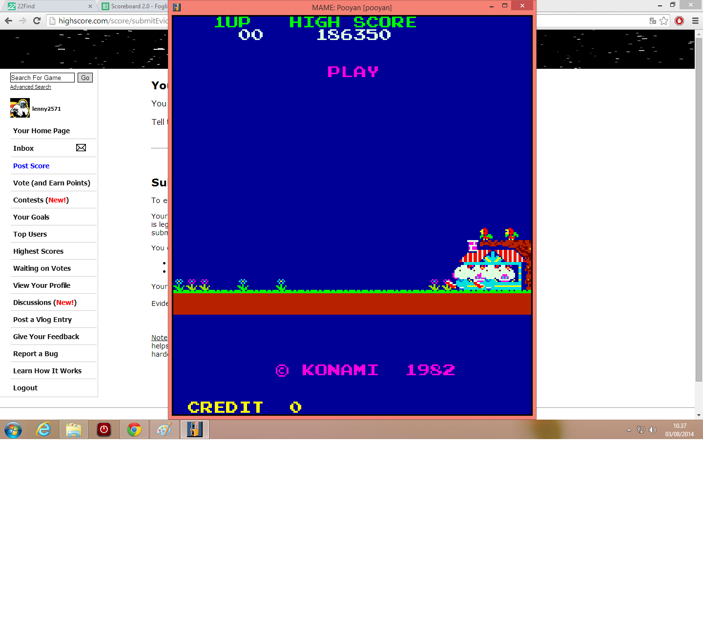 lenny2571: Pooyan (Arcade Emulated / M.A.M.E.) 186,350 points on 2014-08-03 03:38:22
