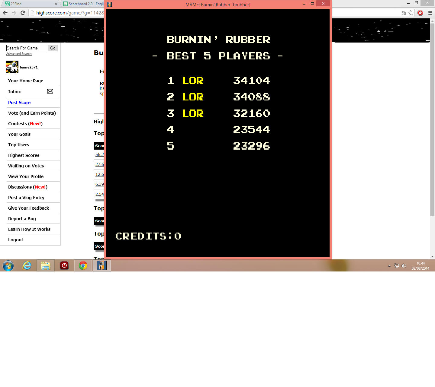lenny2571: Burning Rubber (Arcade Emulated / M.A.M.E.) 34,104 points on 2014-08-03 03:45:15