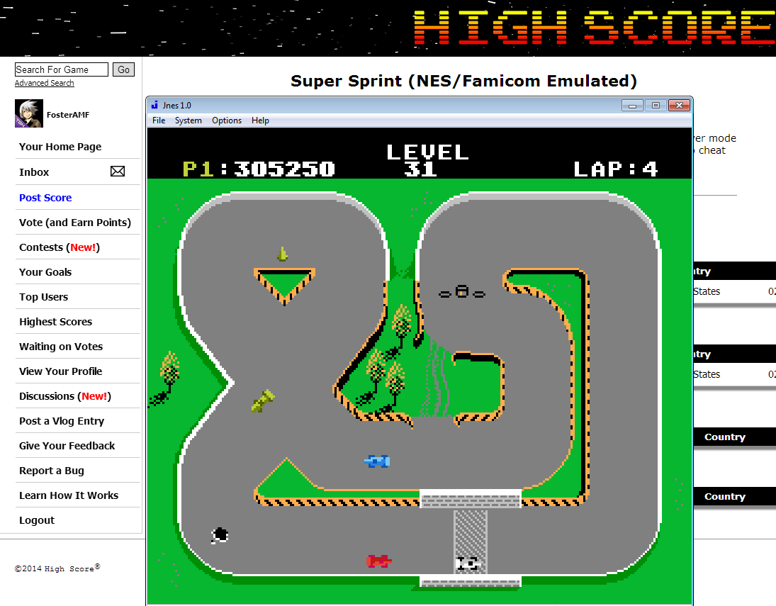 FosterAMF: Super Sprint (NES/Famicom Emulated) 305,250 points on 2014-08-05 03:43:41