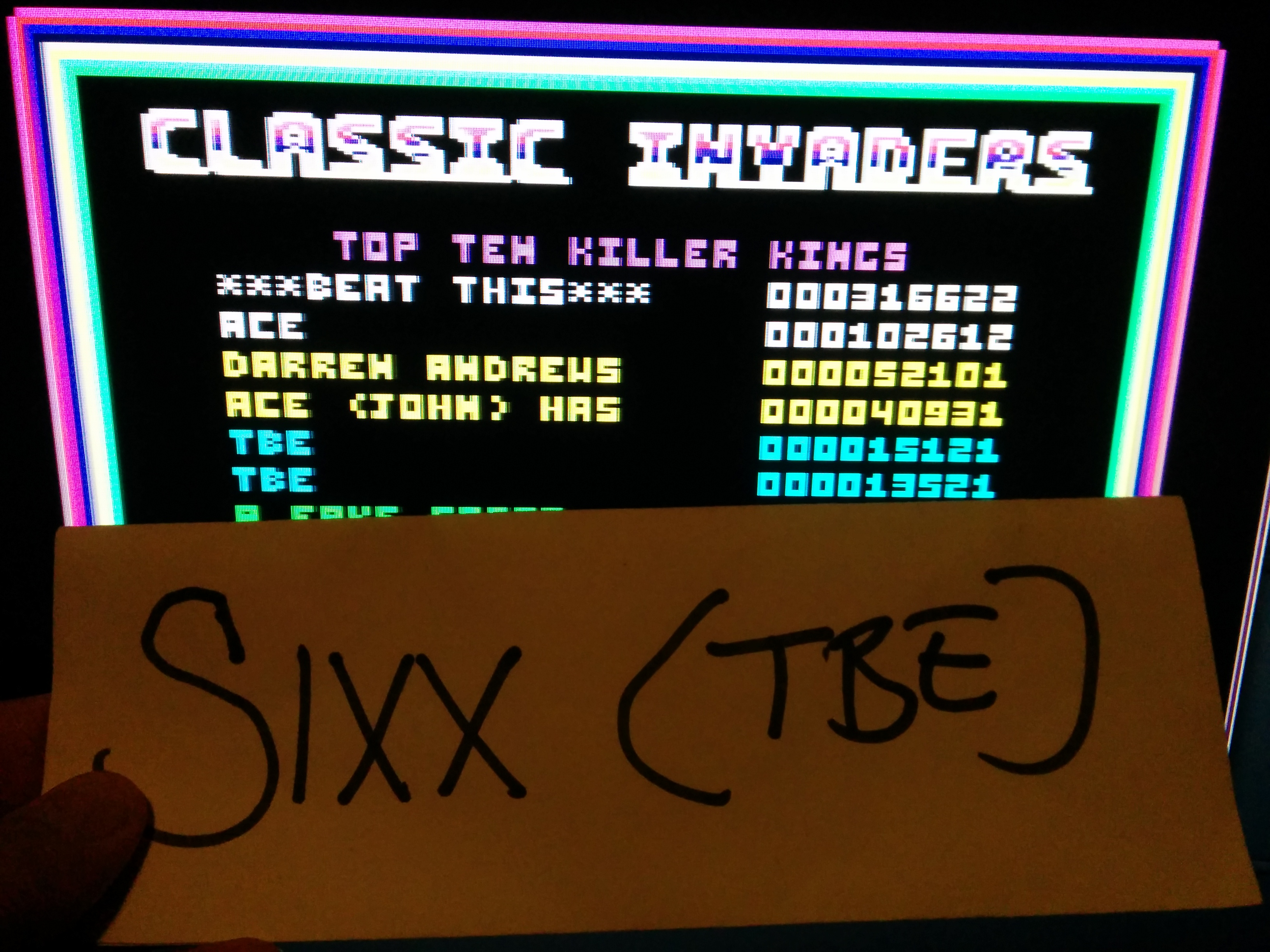Sixx: Classic Invaders (Amstrad CPC Emulated) 15,121 points on 2014-08-05 17:08:02