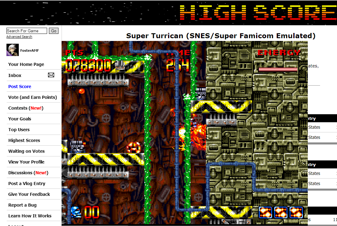 FosterAMF: Super Turrican (SNES/Super Famicom Emulated) 78,300 points on 2014-08-07 05:21:41