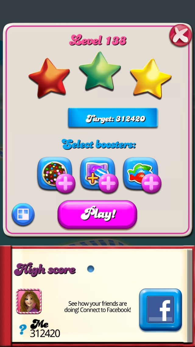 Madnessclown: Candy Crush Saga: Level 138 (iOS) 312,420 points on 2014-08-07 08:19:05