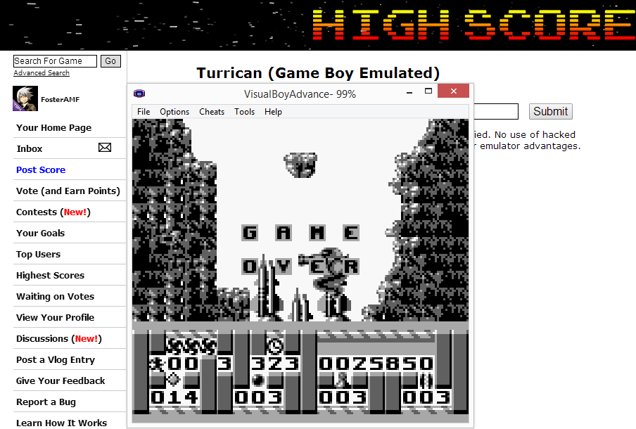FosterAMF: Turrican (Game Boy Emulated) 25,850 points on 2014-08-10 17:24:28