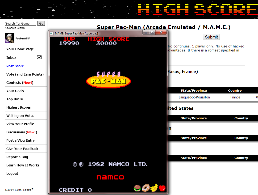 FosterAMF: Super Pac-Man (Arcade Emulated / M.A.M.E.) 19,990 points on 2014-08-11 15:13:53