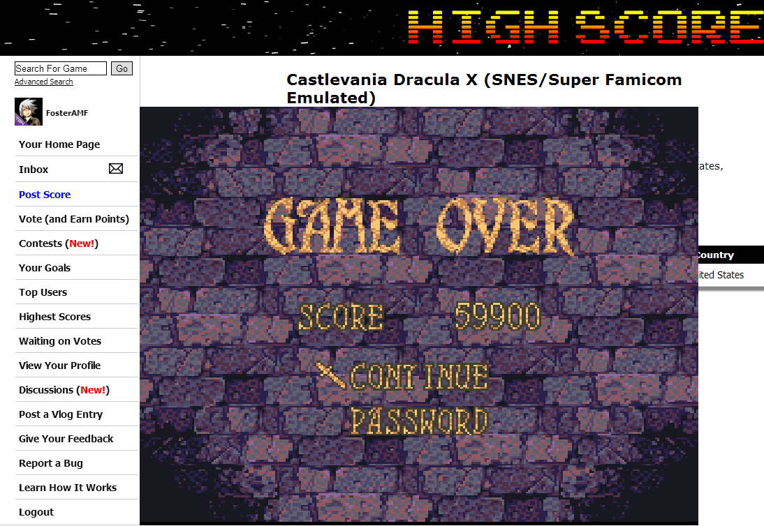 FosterAMF: Castlevania Dracula X (SNES/Super Famicom Emulated) 59,900 points on 2014-08-14 02:47:42
