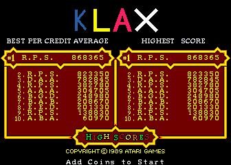 Klax 868,365 points