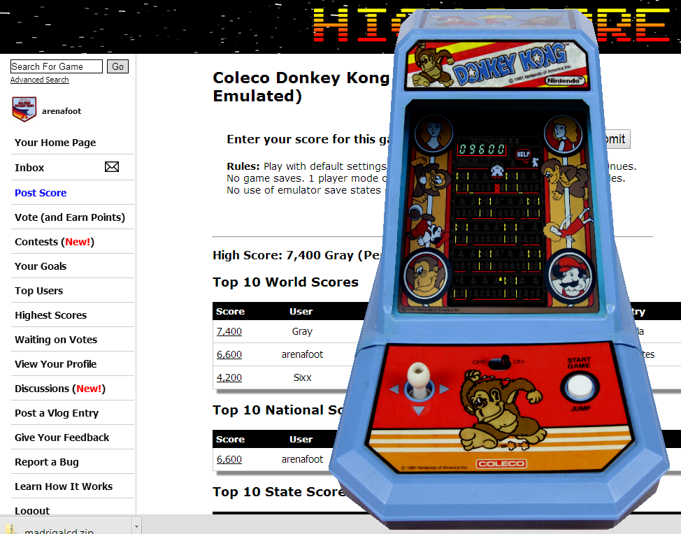 arenafoot: Coleco Donkey Kong (Dedicated Handheld Emulated) 9,600 points on 2014-08-18 17:43:12