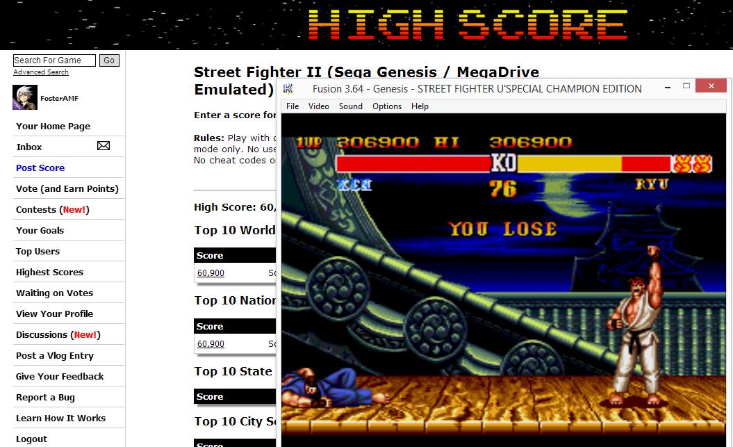 FosterAMF: Street Fighter II (Sega Genesis / MegaDrive Emulated) 306,900 points on 2014-08-19 14:18:06